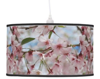 Cherry blossom lamp shade, spring drum pendant lamp shade blossom table cherry blossom lamp floral photo light, pastel pink lamp