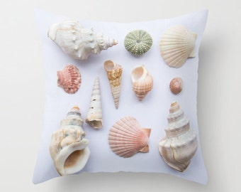Sea shells pillow, beach cottage pillow, seaside shells photo pillow, beach home decor cushion, summer beach house pillow cottage furnishing