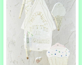 Cupcakes and Ice Cream Grandchildrens Wind Chime Stoneware Clay