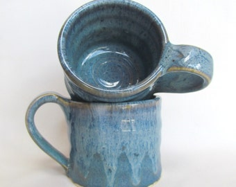 Mug Cup Coffee Tea Small Set Blueberry Blue