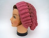 Crocheted Lace Hat - Women's Slouchy Beanie In Sunset Rose - Cotton Linen Vegan Headwear - Lightweight Head Covering