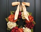 """Fall Hydrangeas, Fall Wreaths Etsy, Fall Hydrangea Wreaths for Front Door, 20"""" Fall Wreaths, Outdoor Autumn Wreaths"""