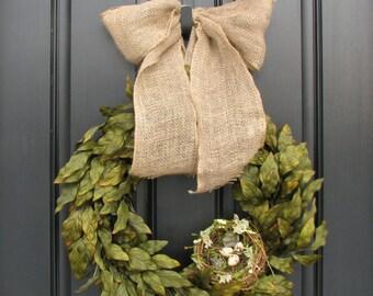 Wreaths, Spring Wreaths, Spring Wreath for Front Door, Laurel Wreath, Bay Laurel Wreath, Bird Nest, Bird Eggs, Burlap Ribbon Wreath