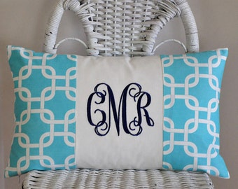 Personalized Lumbar Pillow Cover Monogrammed Dorm Bedding Teen Bedding 12x20 inches