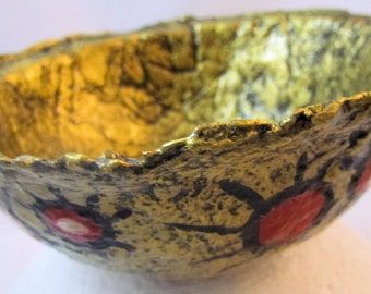 Paper Mache bowl - gold with red, white and black designs, Tabletop decorative art.