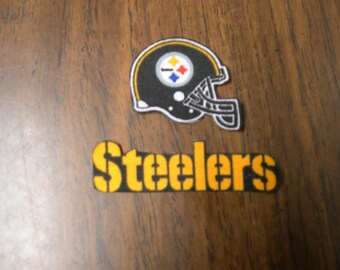 "Pittsburgh Steelers Iron on Cotton Patch 3"" x 1"" & 1 3/4"" x 1 1/2"" NEW"