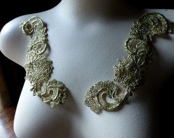 GOLD Lace Applique Pair for Bridal, Sashes, Headbands, Costume Design PR 83