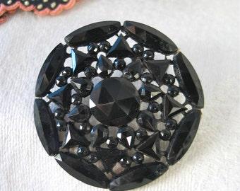 Black Czech Glass Beaded Button Hand Cut Beads Big Button