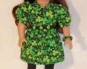 St Patrick's Dress For 18 inch Doll with  Shoes and Tights plus Bracelet