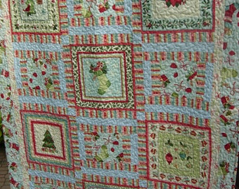 Home For The Holidays Christmas Quilted Lap Quilt