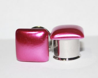 """Classic Square Pink Pearl Plugs 0G 00G 7/16""""  8mm 10mm 11mm"""