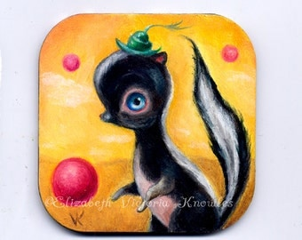 Big Eye Art Skunk Painting, Pop Surrealism, Lowbrow Art, Childrens Decor, Whimsical Painting,  Miniature Art, Original Oil Painting on Wood