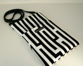 Black and White geometric bag. Mini iPad Carrier. Travel Bag. Cross Body. Small Messenger. Made in California.
