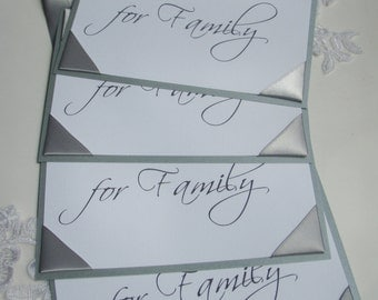 Wedding Reception- Ceremony-Chair Signs-Reserved for Family-Silver, Grey-Set of 4