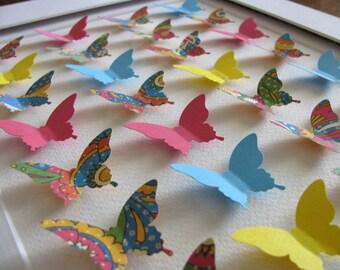 3D Butterfly Art. Deep Pink, Turquoise, Golden Yellow. Paper Butterfly Art. Wall Art, Decor. 8x10