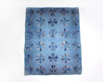 "Miniature Illusion Quilt --- Blue ""Kagene"""