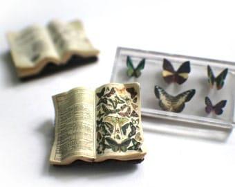 Miniature Open Book --- Butterflies
