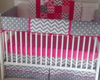 Crib Bedding Set Fuchsia Gray and White Bumperless