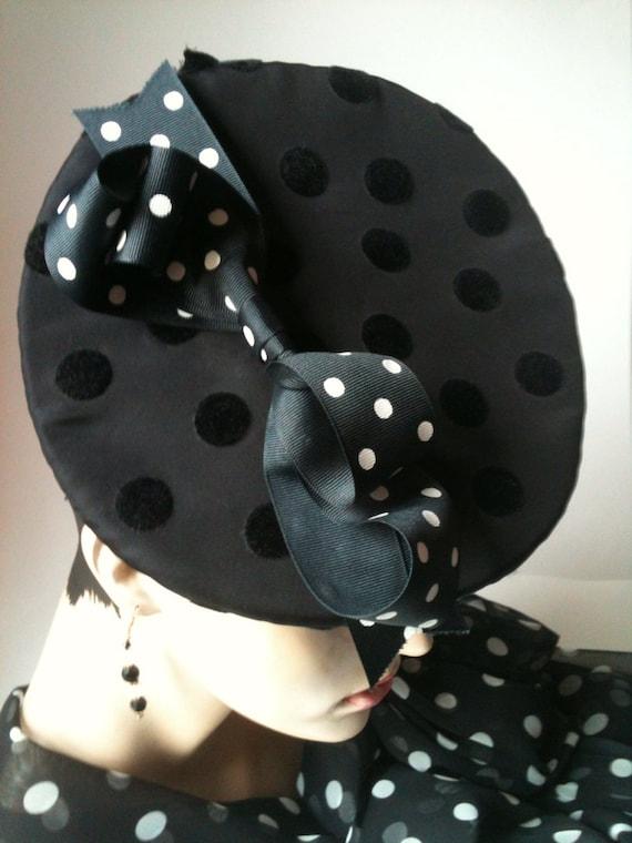 Polka Dot Bow Platter Hat