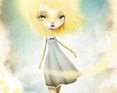 "ACEO/ATC ""Golden Days"" Artists Trading Card Premium Fine Art Mini Print 2.5x3.5 - Little Sun Girl"