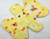 "Heather Ross - Briar Rose - Hex Bee - Yellow -  7.5"" inch - 2L - Reusable Cloth Pad"