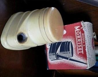 vintage inkwell ... antique MORRISET INKWELL ivory cream colored bakelite plastic in original BOX ..