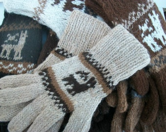 Alpaca gloves. Gloves with a picture of baby alpaca.Cream, white, black, chocolate, light gray, dark gray , tan.