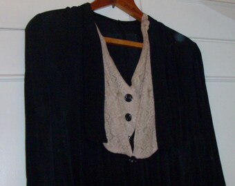 Antique Black Crepe Dress with Ivory Lace Inset