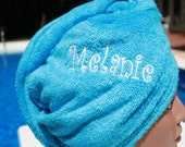 Custom made and Monogrammed  Embroidered Hair Towel Wrap