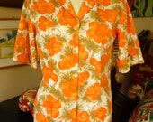 Vintage Fitted Floral Blouse SZ M 50s/60s orange & green watercolor floral cotton KERRYBROOKE
