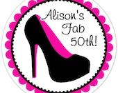 Fiftieth Birthday Labels, Stiletto Birthday Stickers, Birthday Decoration, Fiftieth Birthday Favors