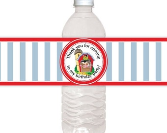 Custom Water Bottle Labels, Farm Birthday Water Bottle Labels, Red Barn Water Bottle Labels, Fit on 16.9 oz water bottles