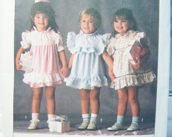 Simplicity 6868 Girl's Pattern, SALE 80's Ruffled Girl's Dress and Panties, Toddler Party Dress, Infant Special Occasion Dress Size 1/2 - 3