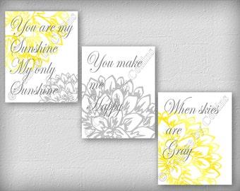 You are my SUNSHINE Wall Art Prints Decor Peony Flower Gray Deep Yellow Dahlia Sun My only SUNSHINE You make me HAPPY