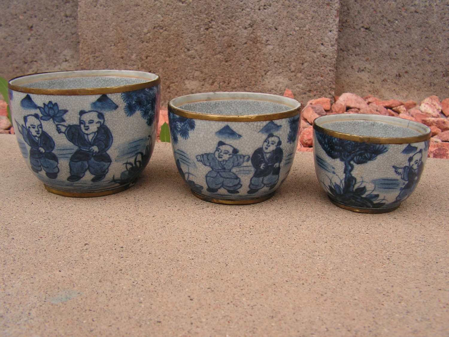 Thai ceramic pottery bowls hand painted blue by retrosideshow for Can ceramic be painted