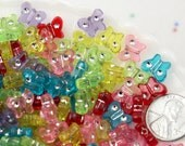 Butterfly Beads - 11mm Tiny Colorful Butterfly Transparent Rhinestone Resin or Acrylic Beads - 200 pcs set