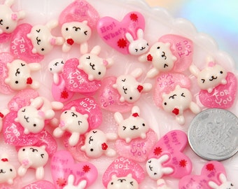 Kawaii Resin Cabochons - 20mm Pink Heart Bunny Flatback Resin Cabochons - 8 pc set