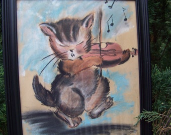 Vintage Colored Chalk Drawing...Cat and the Fiddle...Mid Century...Original Hand Drawn...OOAK...Baby Nursery Wall Art...Nursery Rhyme Art