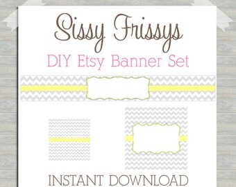 INSTANT DOWNLOAD Blank Easter Spring Yellow and Gray Chevron Premade Etsy Banner Set - Etsy Shop Banner Set - DIY Etsy Banner - 185973811