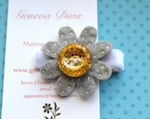 Gray with Yellow Bling Felt Flower Hairclip