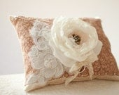 Wedding Ring Pillow, vintage style wedding lace ring bearer pillow, champagne, mauve flower