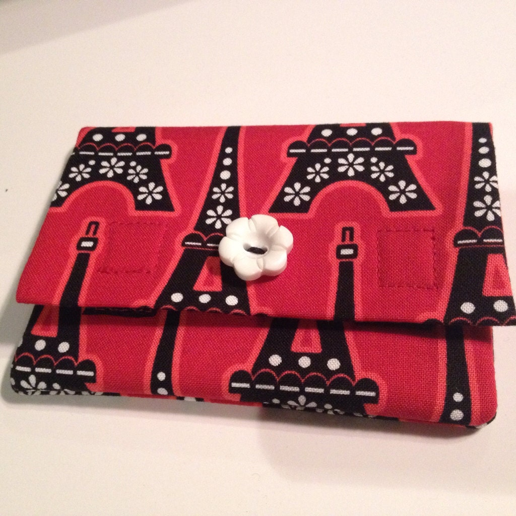 Red & Black Paris Themed Credit Card Or Gift Card Wallet