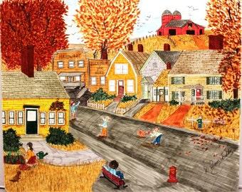 Art origianl hand drawn 13 x 17 DWGF014 old country village or town