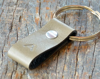 Monogrammed Olive-Tan and Black Leather Keychain - Short & Wide Style
