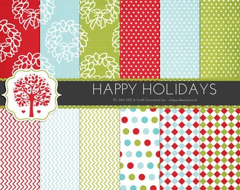 HOL003 - 12 Digital Papers - Happy Holidays Digital Paper Patterns for Personal Use and Small Commercial Use