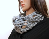 Openwork Infinity Scarf / Cowl - in Dove Gray