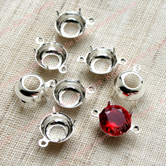 10mm Sterling Silver Plated Round Open Back Prong Settings 1 Ring 2 Ring - 12pcs