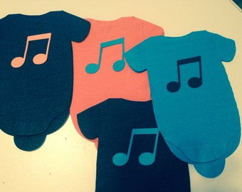 Set of 30 Baby shower 'shirt' paper napkins. Use as banner too.  Any color napkins with any color music notes.