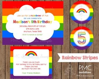 Custom Printed Rainbow Birthday Invitations - 1.00 each with envelope