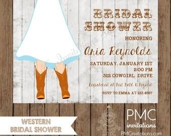 Custom Printed Western Bridal Shower Invitations - 1.00 each with envelope